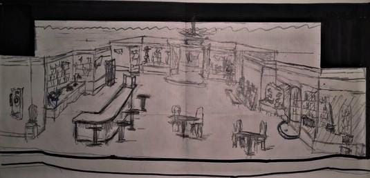 Rendering sketch for, Come Back to the Five-n-Dime, Jimmy Dean, produced at Montgomery High School, Santa Rosa, CA.