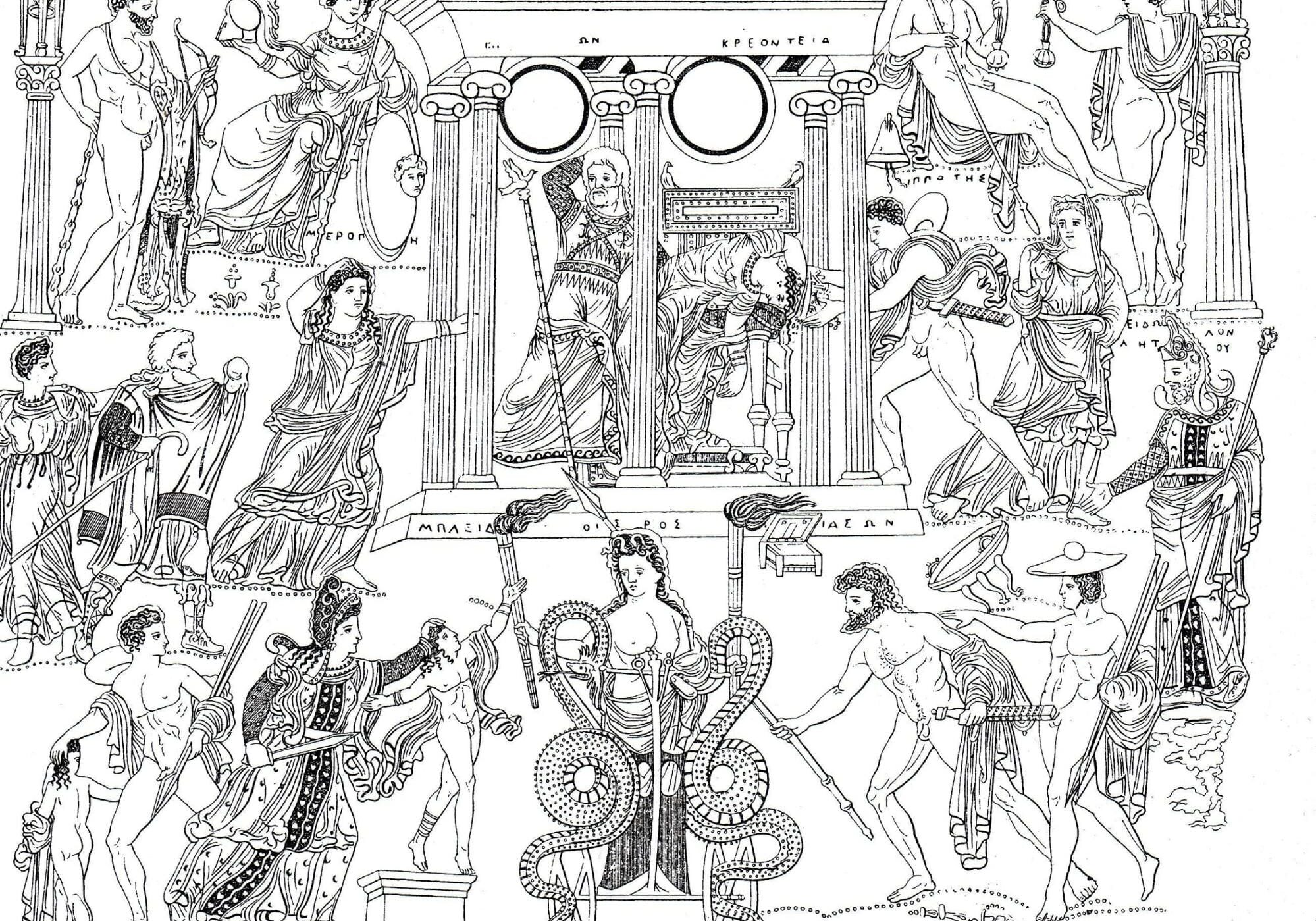Copied from a Classic Greek vase, the image clearly shows the tragedy of Medea as it was performed, including stage properties and rich costume detail.