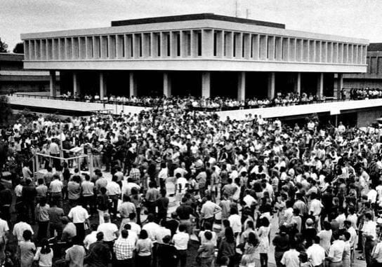 Fresno State College Anti-Cambodian Bombing rally. May 21, 1970. Mr. Eis is on the podium about to speak (Photo: Univ. Archives, Cal State Fresno)