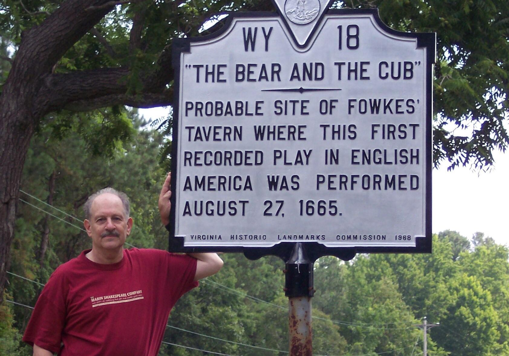 Professor Eis at the site of the first play performed in English in the New World, proven the first public protest against colonial rule and the first political theatre in America.