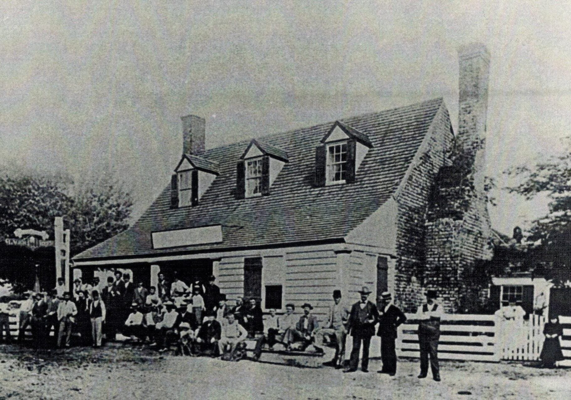 "Photo, circa 1890-1895 of ""locals"" in front of what was erroneously attributed as the site of the first play in English in the New World. Russell E. Nixon, LSIT. Hurt & Proffitt, Lynchburg, VA, June 6, 2001."